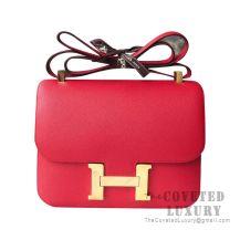 Hermes Constance 23 Bag Q5 Rouge Casaque Epsom GHW