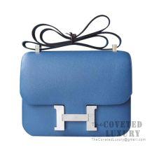 Hermes Constance 23 Bag R2 Blue Agate And 4Z Gris Mouette Epsom SHW