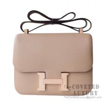 Hermes Constance 23 Bag S2 Trench And Poussiere Epsom With Rose Gold Hardware