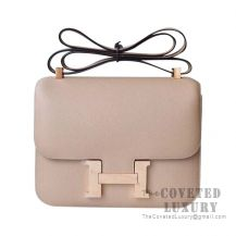 Hermes Constance 23 Bag S2 Trench And 1H Toffee Epsom With Rose Gold Hardware