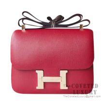 Hermes Constance 23 Bag K1 Rouge Grenat Evercolor GHW