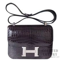 Hermes Constance 23 Bag CC88 Graphite Shiny Niloticus SHW