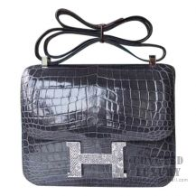 Hermes Constance 23 Bag CC88 Graphite Shiny Niloticus With Lizard Buckle