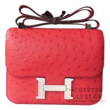 Hermes Constance 23 Bag CC51 Rouge Vif Ostrich SHW