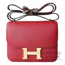 Hermes Mini Constance 18 Bag K1 Rouge Grenat Epsom GHW