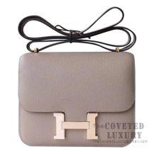 Hermes Mini Constance 18 Bag M8 Gris Asphalt Epsom With Rose Gold Hardware