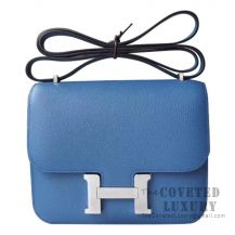 Hermes Mini Constance 18 Bag R2 Blue Agate And 4Z Gris Mouette Epsom SHW