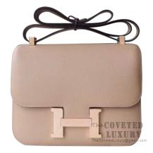 Hermes Mini Constance 18 Bag S2 Trench And Poussiere Epsom With Rose Gold Hardware