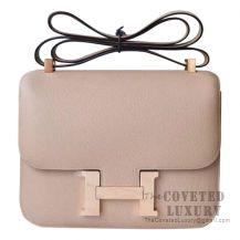 Hermes Mini Constance 18 Bag S2 Trench And 1H Toffee Epsom With Rose Gold Hardware
