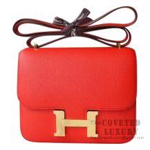 Hermes Mini Constance 18 Bag S3 Rouge De Coueur Epsom GHW