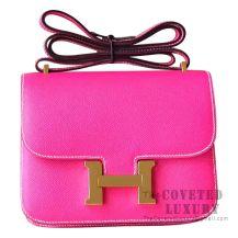 Hermes Mini Constance 18 Bag E5 Rose Tyrien Epsom GHW