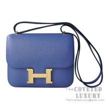 Hermes Mini Constance 18 Bag 7E Blue Brighton Evercolor GHW