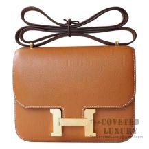 Hermes Mini Constance 18 Bag CC37 Gold Evercolor GHW