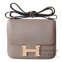 Hermes Mini Constance 18 Bag CC18 Etoupe Evercolor With Rose Gold Hardware