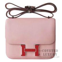 Hermes Mini Constance 18 Bag 3Q Rose Sakura Swift With Lizard Buckle