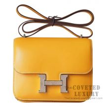 Hermes Mini Constance 18 Bag 1A Paille Tadelakt With Lizard Buckle