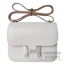 Hermes Mini Constance 18 Bag CC80 Pearl Grey Tadelakt SHW