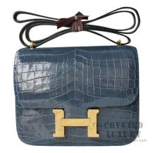 Hermes Mini Constance 18 Bag 1P Blue Ocean Shiny Niloticus GHW