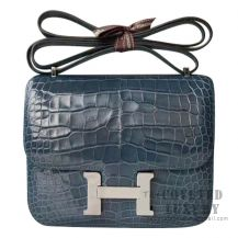 Hermes Mini Constance 18 Bag 1P Blue Ocean Shiny Niloticus SHW