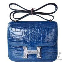 Hermes Mini Constance 18 Bag 1P Blue Ocean Shiny Niloticus With Lizard Buckle