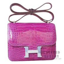 Hermes Mini Constance 18 Bag 5C Violet Shiny Alligator SHW