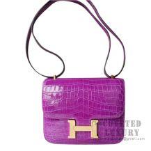 Hermes Mini Constance 18 Bag 5C Violet Shiny Niloticus GHW