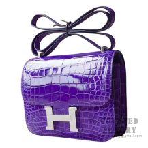 Hermes Mini Constance 18 Bag 5L Ultraviolet Shiny Niloticus SHW