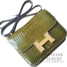 Hermes Mini Constance 18 Bag 6H Vert Veronese Shiny Alligator GHW