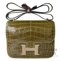 Hermes Mini Constance 18 Bag 6H Veronese Shiny Niloticus With Lizard Buckle