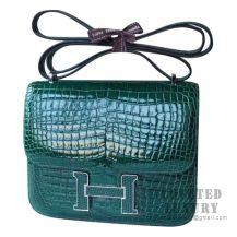 Hermes Mini Constance 18 Bag 6Q Vert Emeraude Shiny Porosus Croc SHW
