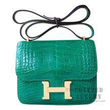 Hermes Mini Constance 18 Bag 6Q Vert Emeraude Shiny Alligator GHW