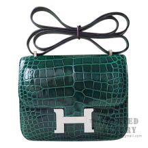 Hermes Mini Constance 18 Bag 6Q Vert Emeraude Shiny Alligator SHW