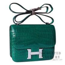 Hermes Mini Constance 18 Bag 6Q Vert Emeraude Shiny Niloticus SHW