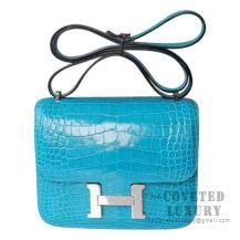 Hermes Mini Constance 18 Bag 7W Blue Izmir Shiny Alligator SHW