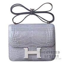 Hermes Mini Constance 18 Bag 8M Gris Paris Shiny Niloticus SHW