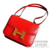 Hermes Mini Constance 18 Bag CC95 Braise Shiny Alligator GHW
