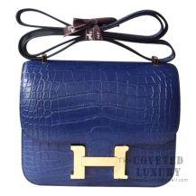Hermes Mini Constance 18 Bag CK73 Blue Saphir Matte Niloticus GHW