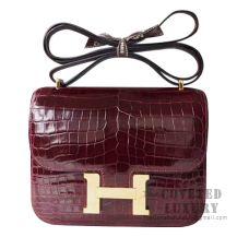 Hermes Mini Constance 18 Bag F5 Bourgogne Shiny Niloticus GHW