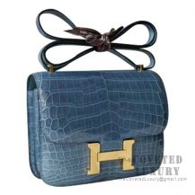 Hermes Mini Constance 18 Bag N7 Blue Tempete Shiny Niloticus GHW