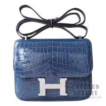 Hermes Mini Constance 18 Bag N7 Blue Tempete Shiny Niloticus SHW