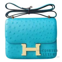 Hermes Mini Constance 18 7F Blue Paon Ostrich GHW
