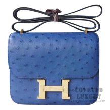 Hermes Mini Constance 18 7L Blue De Malte Ostrich GHW