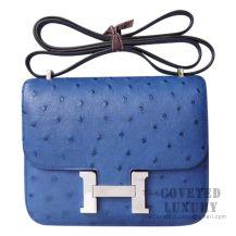 Hermes Mini Constance 18 7L Blue De Malte Ostrich SHW