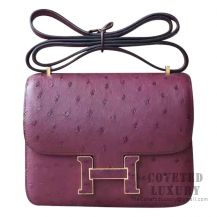 Hermes Mini Constance 18 CC55 Rouge H Ostrich With Ostrich Buckle