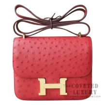Hermes Mini Constance 18 A5 Bougainviller Ostrich GHW