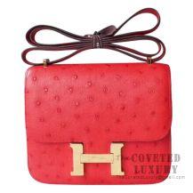 Hermes Mini Constance 18 CC51 Rouge Vif Ostrich GHW
