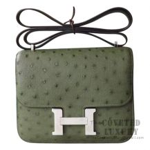 Hermes Mini Constance 18 V6 Canopee Ostrich SHW
