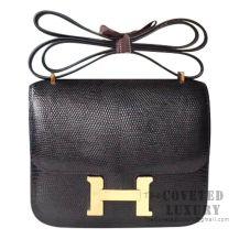 Hermes Mini Constance 18 89 Noir Lizard GHW