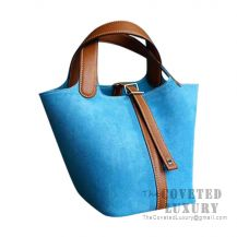 Hermes Picotin Lock 18 Bag 3P Blue Atoll And CC37 Gold Barenia Clemence SHW