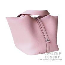 Hermes Picotin Lock 18 Bag 3Q Rose Sakura Clemence SHW